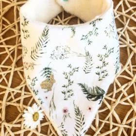 Bavoir herbes blanc et lapin