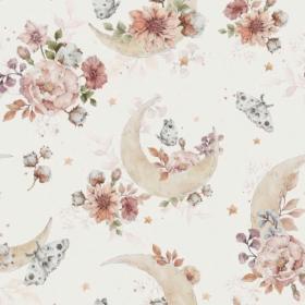 coussin plat fleur&coton&lune