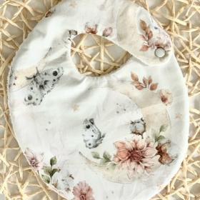 bavoir fleur&coton&lune