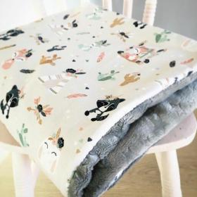 couverture animaux boho gris