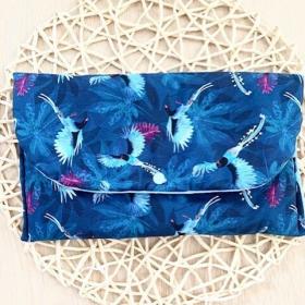 pochette a couche oiseaux bleu