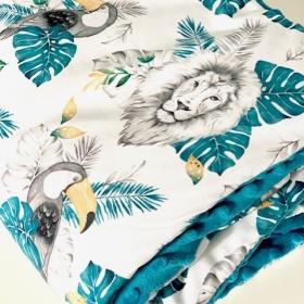 couverture lion minky bleu...